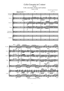 Concerto for Cello and Strings in C Minor, RV 401: Score, parts by Антонио Вивальди