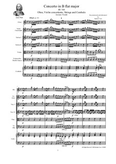 Concerto for Violin, Oboe and Strings in B Flat Major, RV 548: Score, parts by Антонио Вивальди