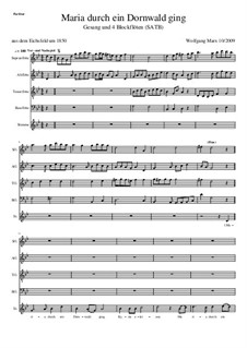 Maria durch ein Dornwald ging: For voice and four recorders by Unknown (works before 1850)