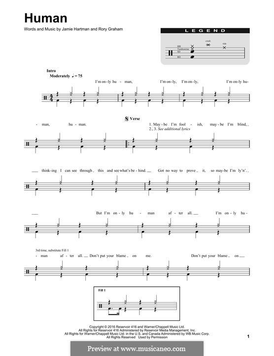 Human (Rag'n'Bone Man): Drum set by Jamie Hartman, Rory Graham