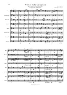Fest- und Gedenksprüche, Op.109: No.2 If a strong armed man guards his palace, for wind octet (2 oboes, 2 clarinets, 2 horns, 2 bassoons) by Иоганнес Брамс