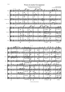 Fest- und Gedenksprüche, Op.109: No.2 If a strong armed man guards his palace, for wind quartet and string quartet (higher basses) by Иоганнес Брамс