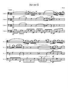 Ария: Version for cello quartet by Иоганн Себастьян Бах