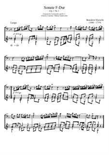 Шесть сонат для виолончели (или альта) и бассо континуо, Op.1: Sonata No.1, for guitar abd bass recorder by Бенедетто Марчелло