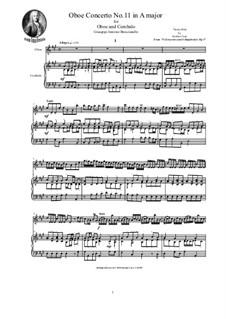 12 concerti e sinphonie, Op.1: Concerto No.11 in A major for oboe and cembalo (or piano) by Giuseppe Antonio Brescianello