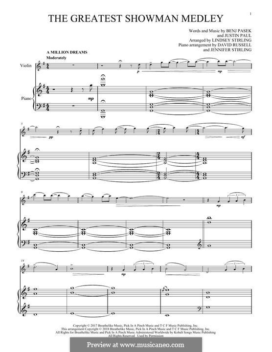 The Greatest Showman Medley: Для скрипки и фортепиано by Justin Paul, Benj Pasek