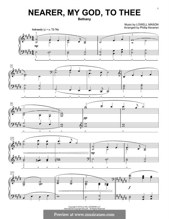 Nearer, My God, To Thee (Printable scores): For piano (Phillip Keveren) by Lowell Mason