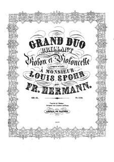 Большой блестящий дуэт для скрипки и виолончели, Op.12: Партия скрипки by Фридрих Германн