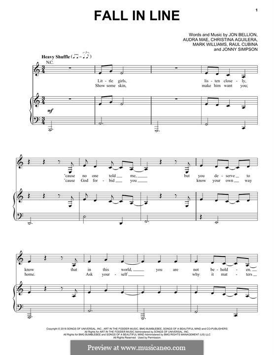 Fall in Line (feat. Demi Lovato): Для голоса и фортепиано (или гитары) by Christina Aguilera, Jonathan Bellion, Audra Mae, Mark Williams, Jonny Simpson, Raul Cubina