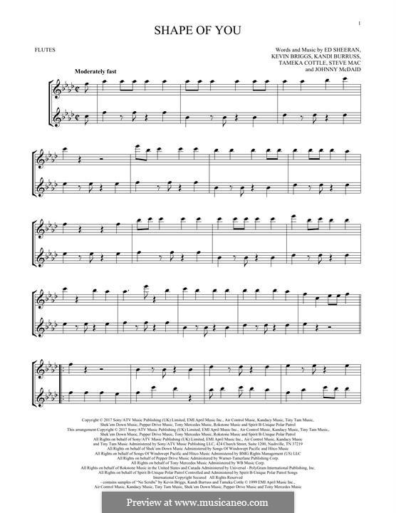 Shape of You: Для двух флейт by Ed Sheeran, Steve Mac, John McDaid