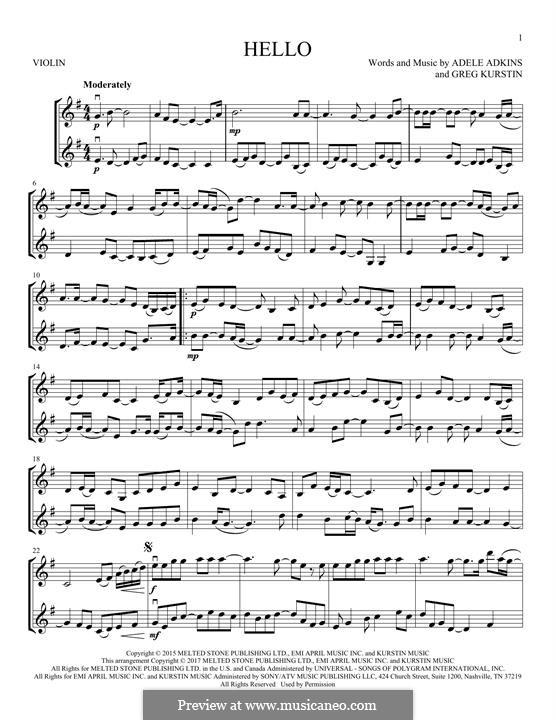 Hello: Для двух скрипок by Adele, Greg Kurstin