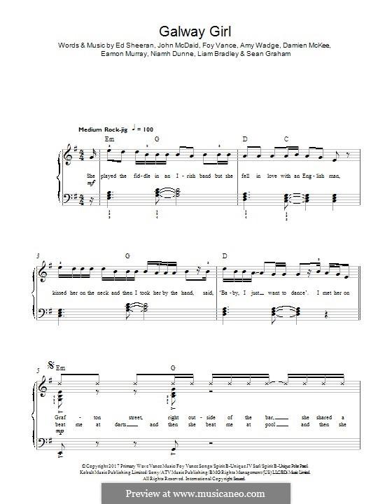 Galway Girl: Для фортепиано by Ed Sheeran, John McDaid, Amy Wadge, Foy Vance, Damian McKee, Eamon Murray, Liam Bradley, Niamh Dunne, Sean Graham