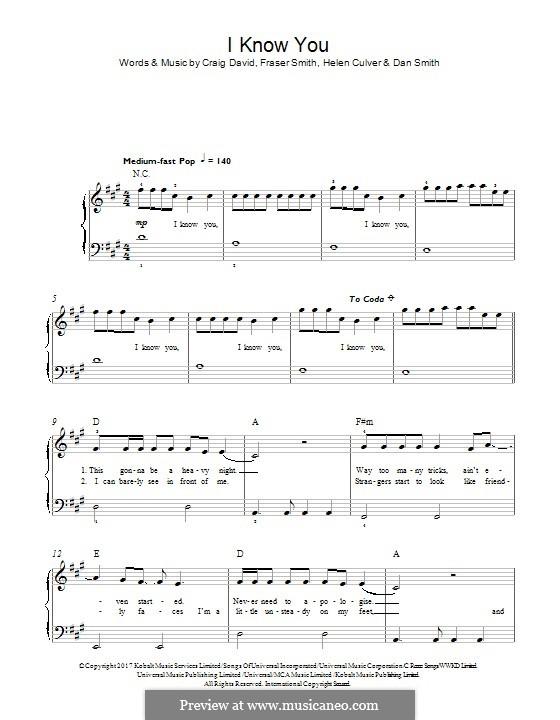 I Know You (Craig David feat. Bastille): Для фортепиано by Craig David, Daniel Smith, Fraser T. Smith, Helen Culver