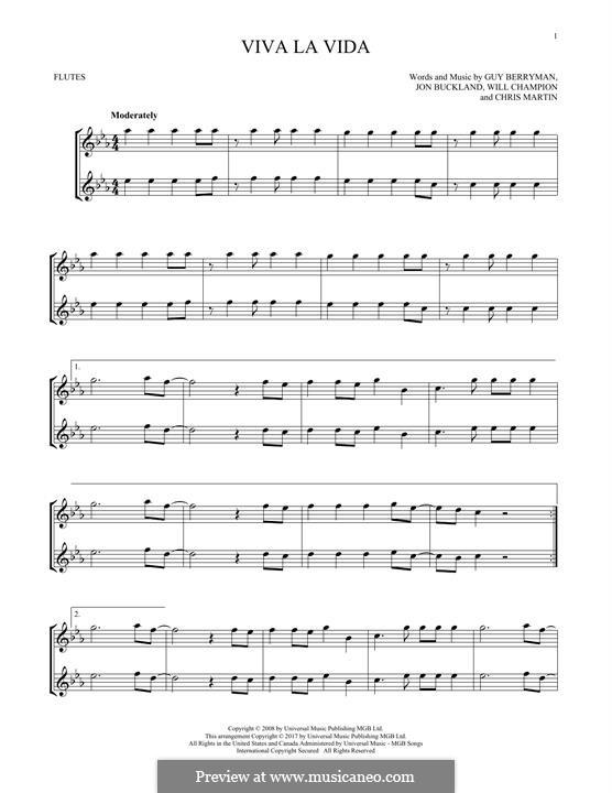Instrumental version: Для двух флейт by Chris Martin, Guy Berryman, Jonny Buckland, Will Champion