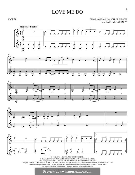 Love Me Do (The Beatles): Для двух скрипок by John Lennon, Paul McCartney