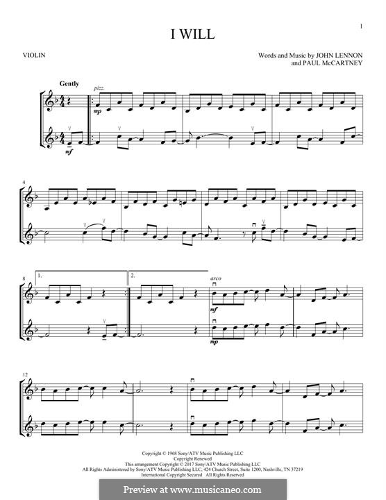 I Will (The Beatles): Для двух скрипок by John Lennon, Paul McCartney