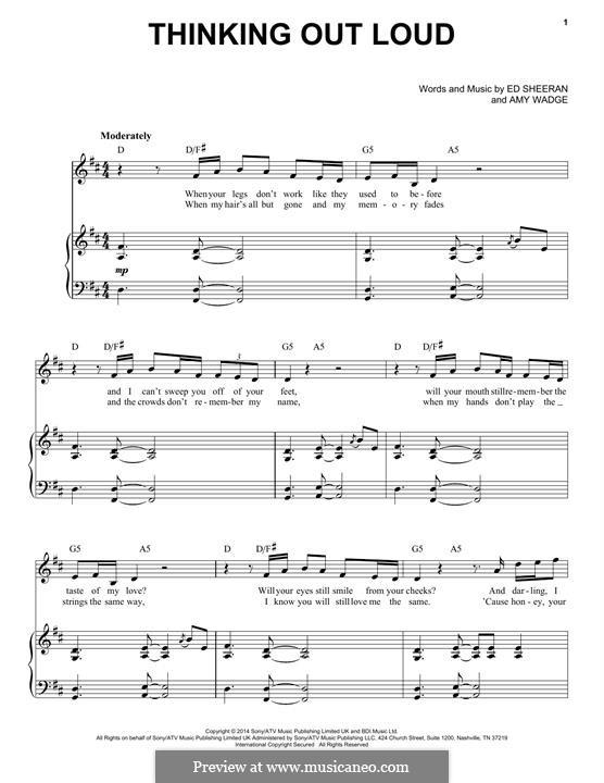 Thinking Out Loud: Для голоса и фортепиано by Ed Sheeran, Amy Wadge