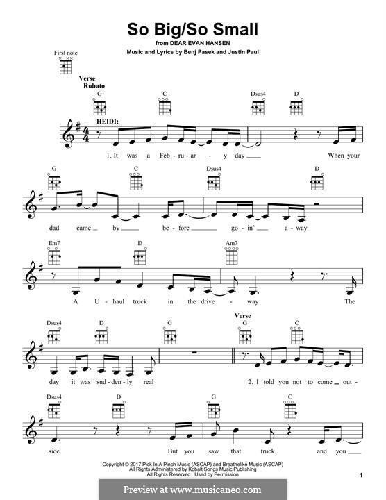 So Big/So Small (from Dear Evan Hansen): Для укулеле by Justin Paul, Benj Pasek