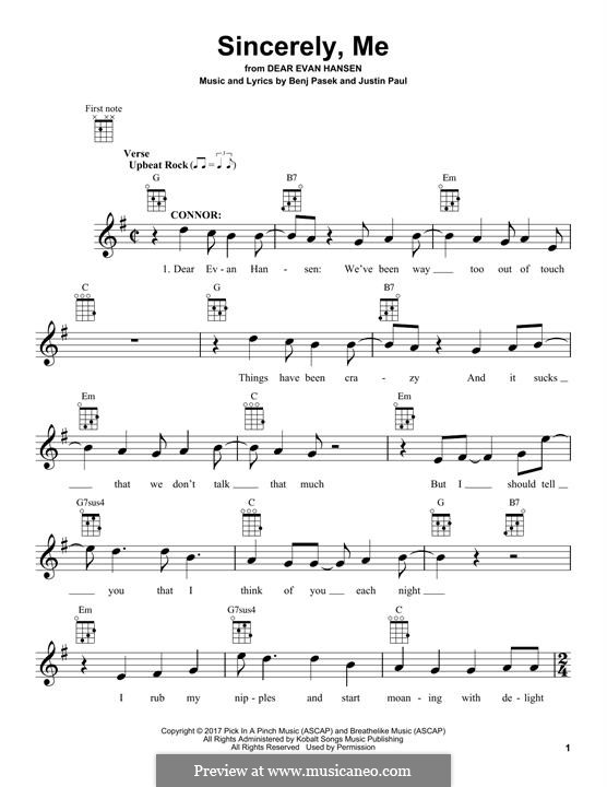 Sincerely, Me (from Dear Evan Hansen): Для укулеле by Justin Paul, Benj Pasek