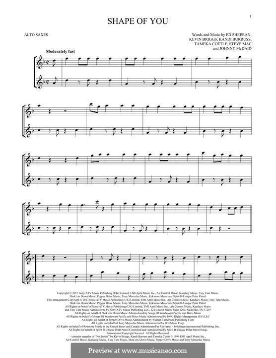 Shape of You: For two alto saxophones by Ed Sheeran, Steve Mac, John McDaid