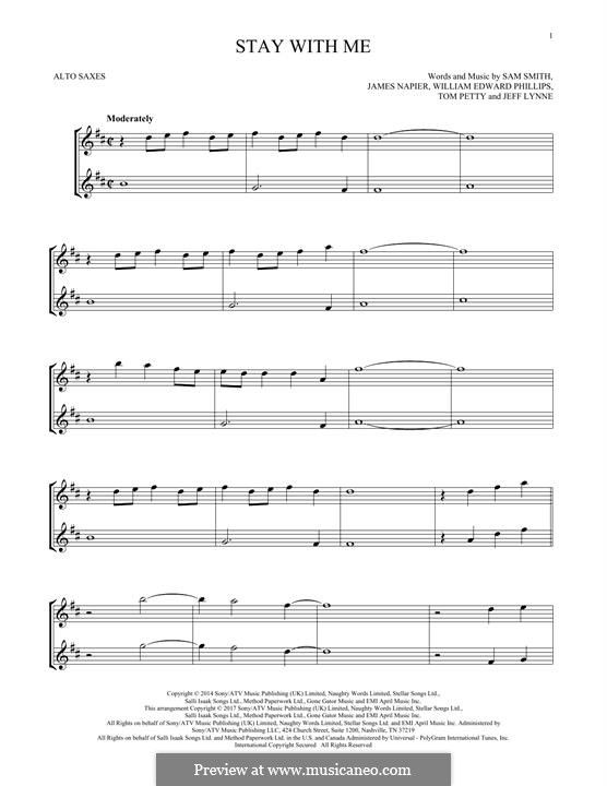 Stay with Me: For two alto saxophones by Samuel F Smith, James Napier, William Phillips