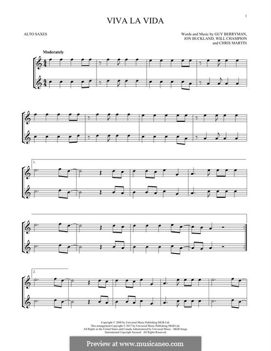 Instrumental version: For two alto saxophones by Chris Martin, Guy Berryman, Jonny Buckland, Will Champion