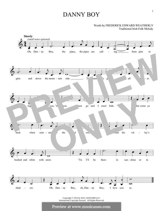 Danny Boy (Londonderry Air) Printable Scores: Мелодия by folklore