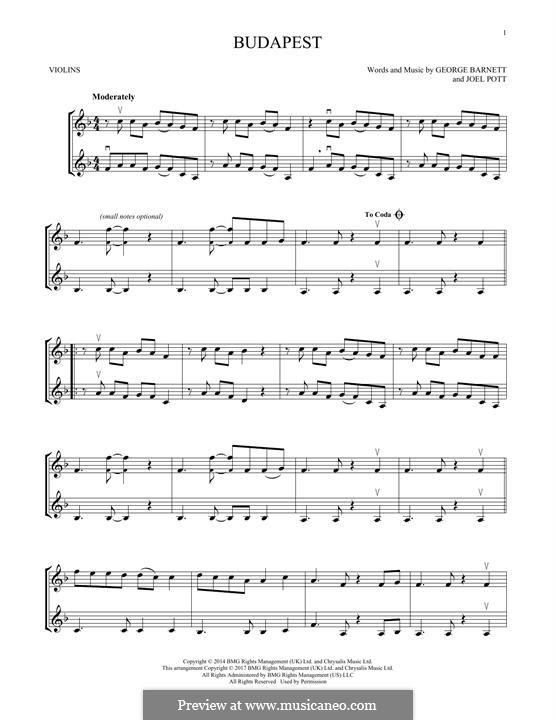 Budapest: Для двух скрипок by Joel Pott, George Ezra Barnett