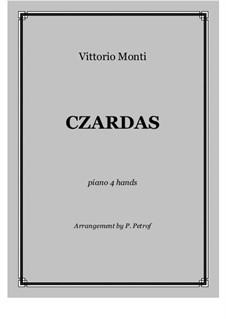 Чардаш: For piano four hands - score and parts by Витторио Монти