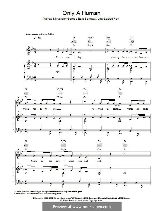 Only a Human: Для голоса и фортепиано (или гитары) by Joel Pott, George Ezra Barnett