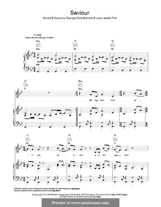 Saviour (feat. First Aid Kit): Для голоса и фортепиано (или гитары) by Joel Pott, George Ezra Barnett