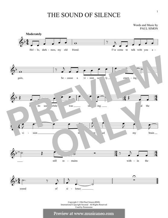 The Sound of Silence (Simon & Garfunkel): Мелодия by Paul Simon