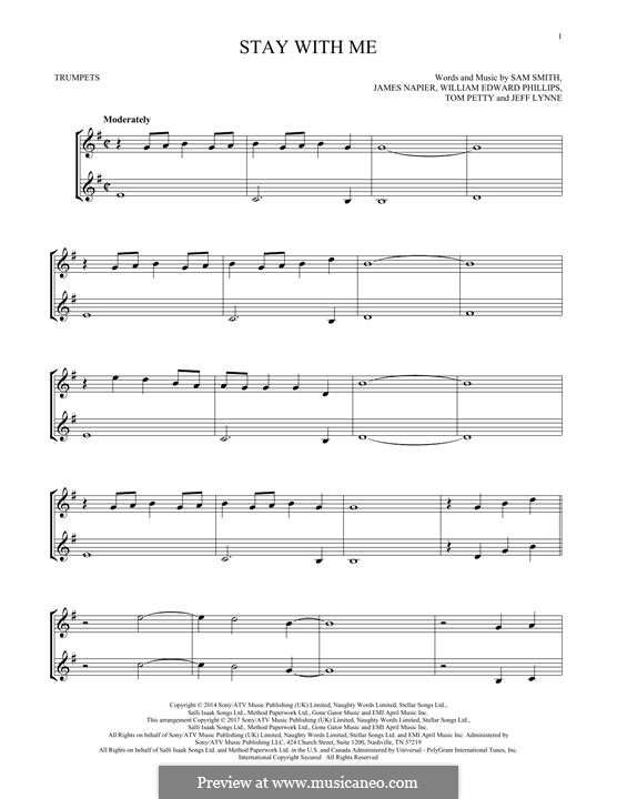 Stay with Me: For two trumpets by Samuel F Smith, James Napier, William Phillips