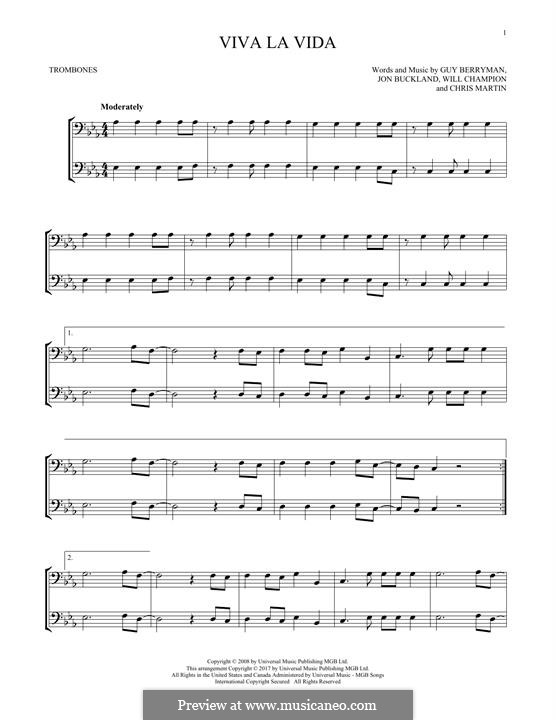 Instrumental version: For two trombones by Chris Martin, Guy Berryman, Jonny Buckland, Will Champion