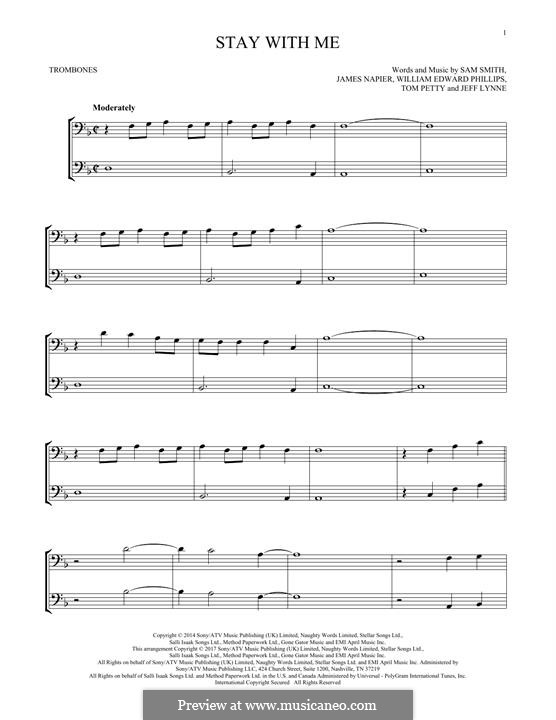 Stay with Me: For two trombones by Samuel F Smith, James Napier, William Phillips