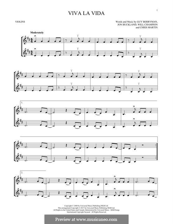 Instrumental version: Для двух скрипок by Chris Martin, Guy Berryman, Jonny Buckland, Will Champion