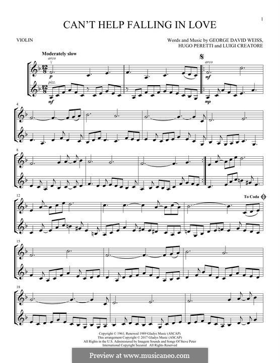 Can't Help Falling in Love: Для двух скрипок by George David Weiss, Hugo Peretti, Luigi Creatore