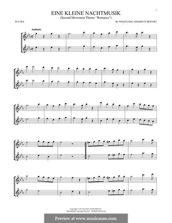 Аллегро: Excerpt, for two flutes by Вольфганг Амадей Моцарт
