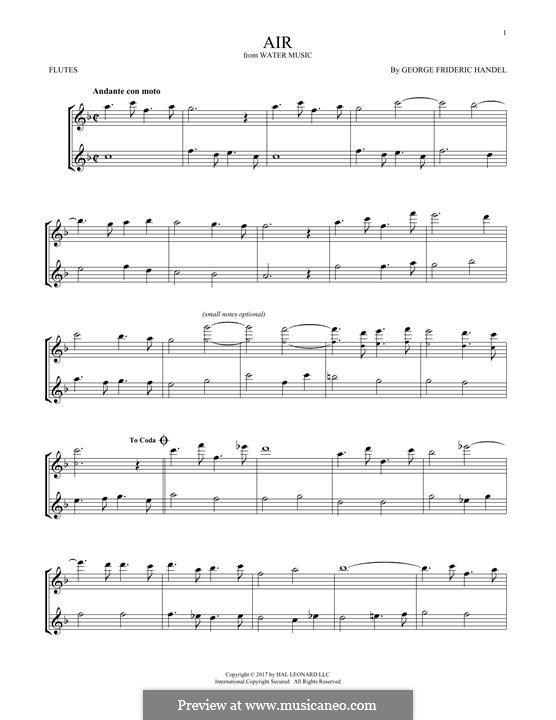 Сюита No.1 фа мажор – Ария, HWV 348: Для двух флейт by Георг Фридрих Гендель