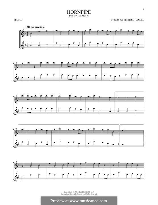 Сюита No.2 ре мажор, HWV 349: Alla Hornpipe, for two flutes by Георг Фридрих Гендель