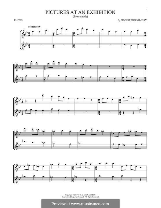 Прогулка I: Для двух флейт by Модест Мусоргский
