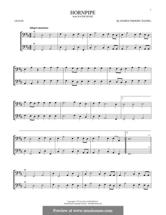 Сюита No.2 ре мажор, HWV 349: Alla Hornpipe, for two violins by Георг Фридрих Гендель