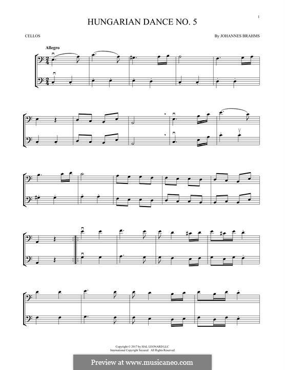 Танец No.5 фа-диез минор: Для двух скрипок by Иоганнес Брамс
