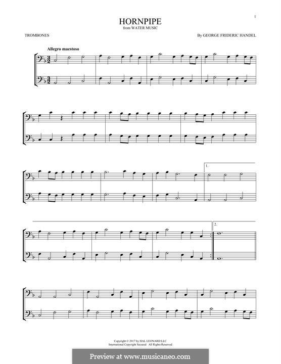 Сюита No.2 ре мажор, HWV 349: Alla Hornpipe, for two trombones by Георг Фридрих Гендель