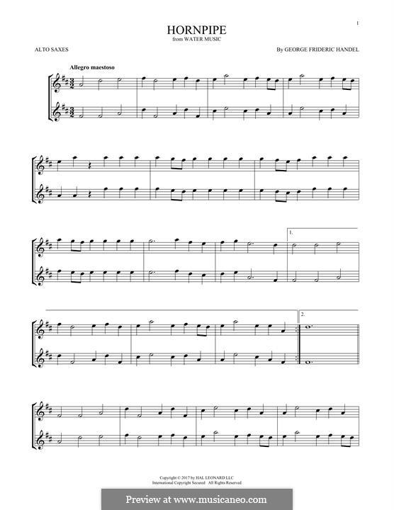 Сюита No.2 ре мажор, HWV 349: Alla Hornpipe, for two alto saxophones by Георг Фридрих Гендель