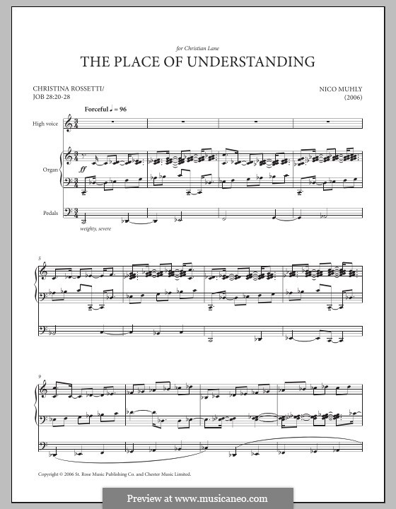 The Place of Understanding: For voice and organ by Nico Muhly