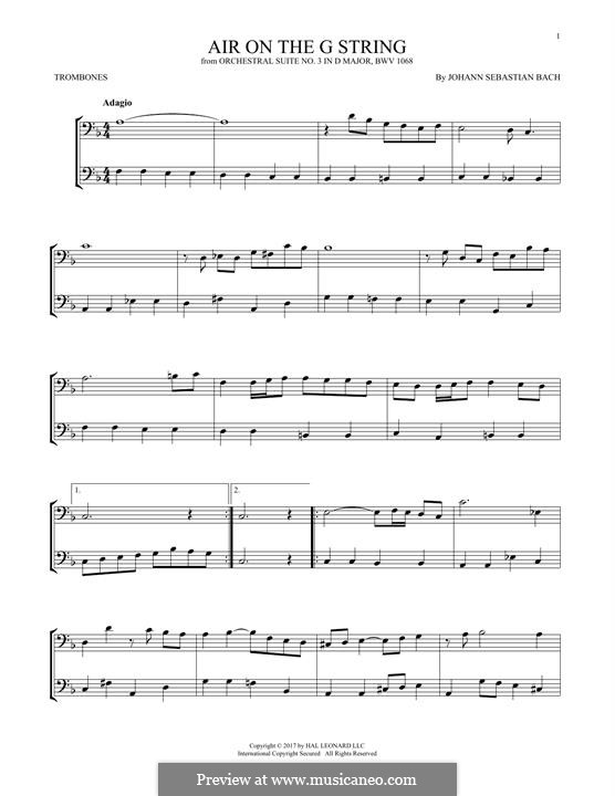 Aria (Printable Scores): Version for two trombones by Иоганн Себастьян Бах