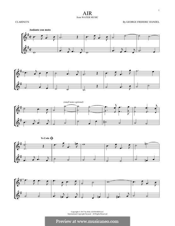 Сюита No.1 фа мажор – Ария, HWV 348: Для двух кларнетов by Георг Фридрих Гендель