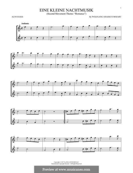 Аллегро: Excerpt, for two alto saxophones by Вольфганг Амадей Моцарт