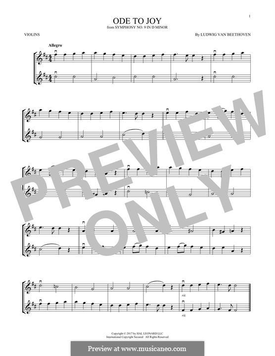 Ода к радости: Version for two violins by Людвиг ван Бетховен